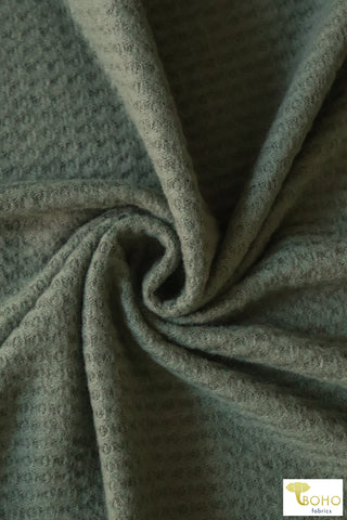 Army Green Brushed Waffle Knit. BWAFF-124
