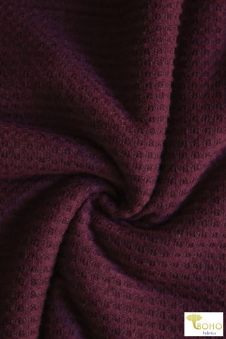Boysenberry Red Brushed Waffle Knit. BWAFF-115.