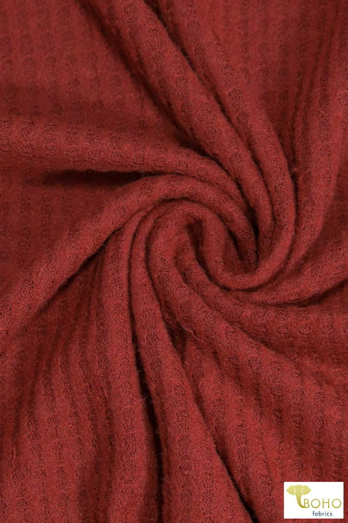 Rust Red Brushed Waffle Knit. BWAFF-123