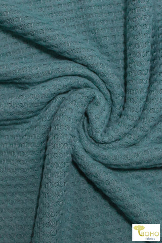 Dusty Teal Brushed Waffle Knit. BWAFF-122