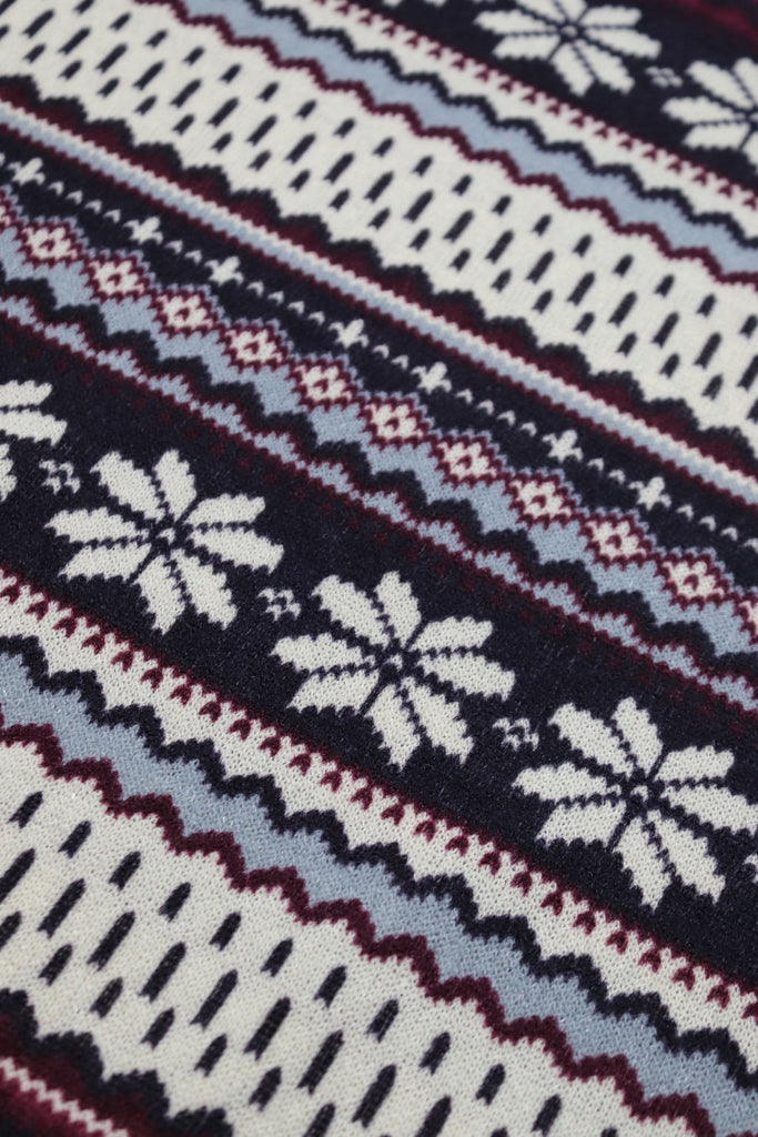 Purple Nordic Snowflake Sweater Knit.  PRSW-101-PURP
