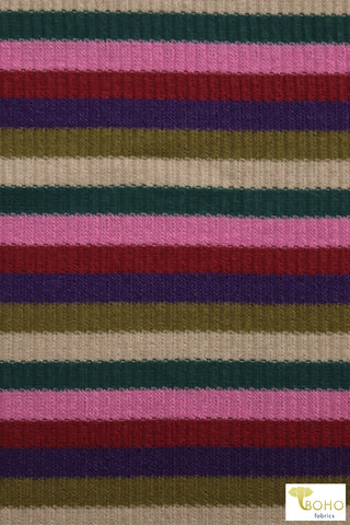 """Kylie Stripes"" in Green, Purple, Pink. Rib Knit Fabric. RIB-119"