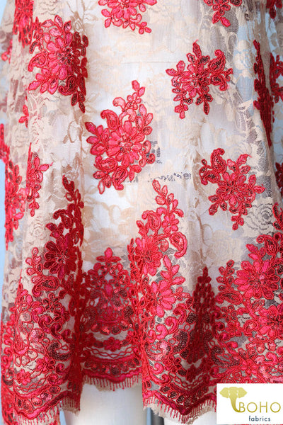 "Special Occasion: ""Red Summer"" Embroidered and Sequined Stretch Mesh Fabric"