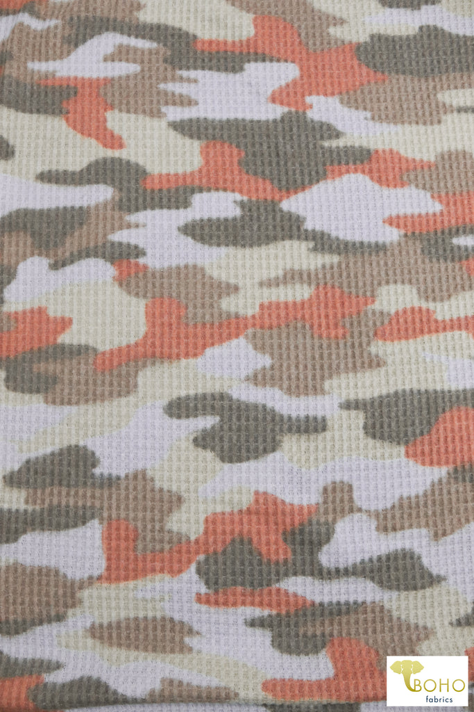Periwinkle, Green, Orange, & Brown Camo. Brushed Waffle Knit Fabric. BWAFF-133-POB