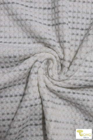 Shades of Gray & White Brushed Waffle Knit Fabric. BWAFF-127