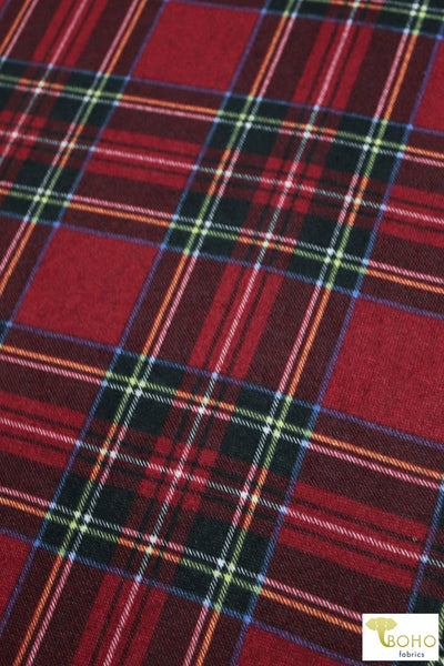 Classic Plaid on Red Brushed Sweater Knit Fabric. PRSW-102-RED