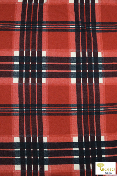 Red/Black Plaid Brushed Sweater Knit Fabric. PRSW-104