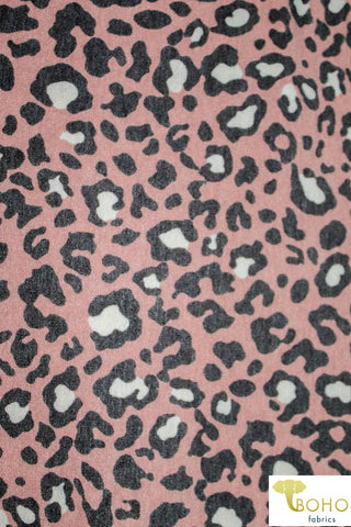 Mauve Leopard French Terry Knit Fabric. FTP-306