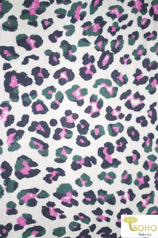 Pink Party Leopard on White French Terry Knit Fabric. FTP-305