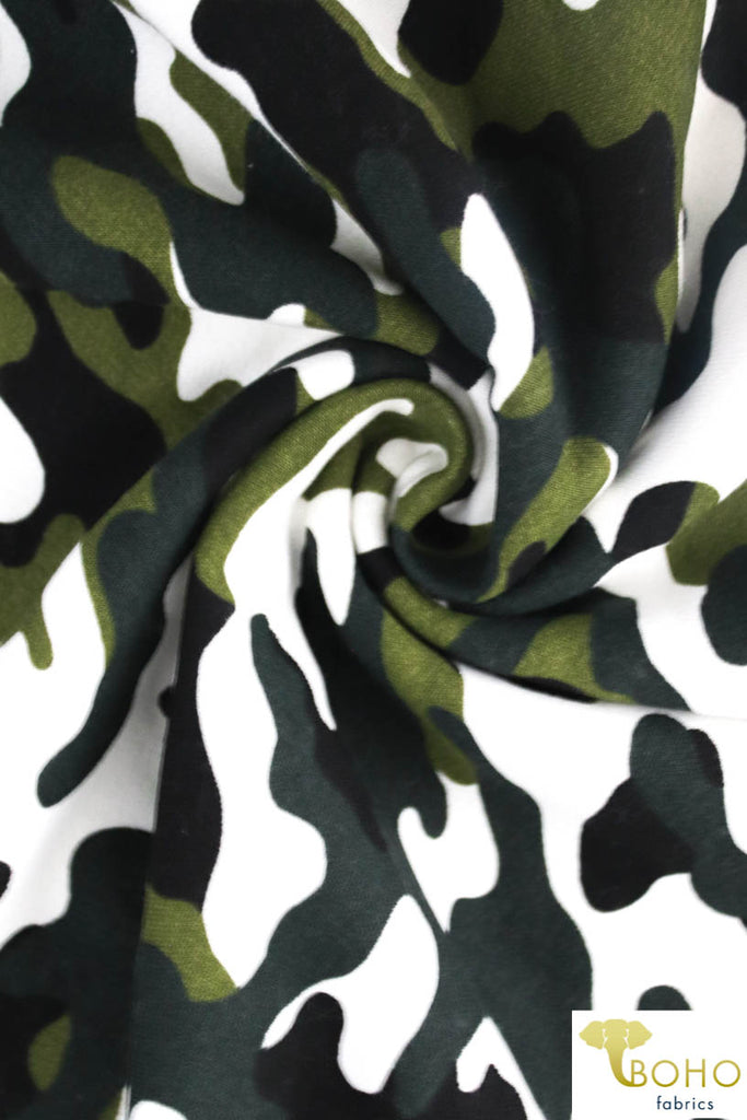 Green Camo Sweatshirt Knit Fabric. SWT-109