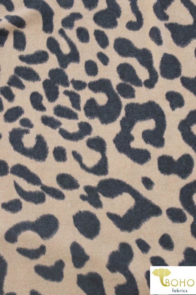 Light Brown Leopard Brushed Sweater Knit Fabric. PRSW-110-BRWN