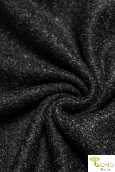 "Black, ""Boucle-Style"" Brushed Sweater Knit Fabric. BSWTR-312-BLK"
