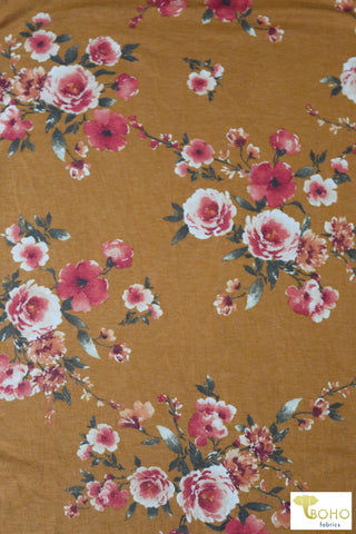 Coral Roses on Mustard French Terry Knit Fabric. FTP-302