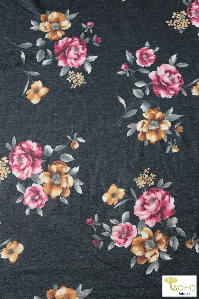 Annabelle, Florals on Gray French Terry Knit Fabric. FTP-303-GRY