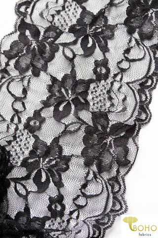 Black Lilies. Floral Stretch Galloon Lace Trim, 6.25""