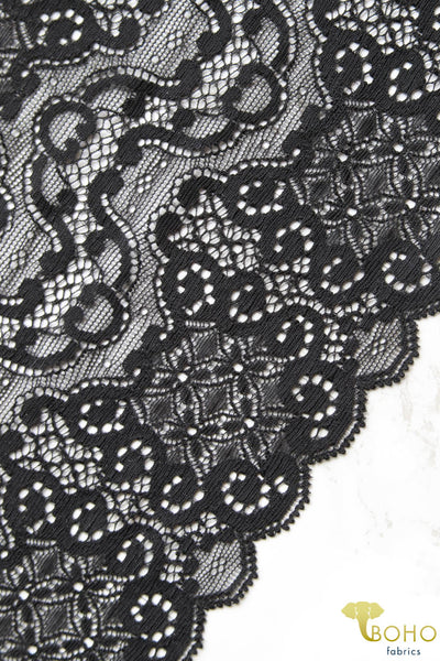 Black Mirror.  Stretch Galloon Lace Trim, 6.5""