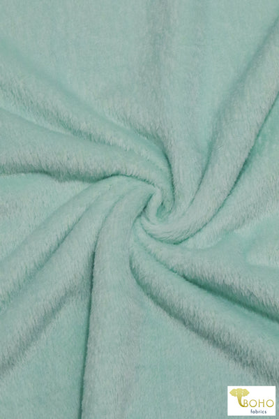 Shimmer Mint.  Silken Fleece Fabric.