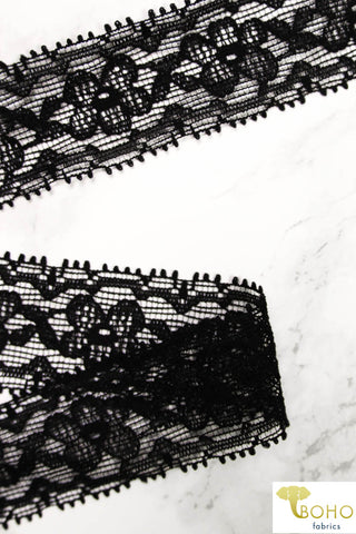 Daisy Cross-Stitch.  Stretch Lace Elastic Trim in Black, 1.25""