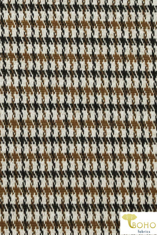 Houndstooth in Brown. Jacquard Knit. JQD-104