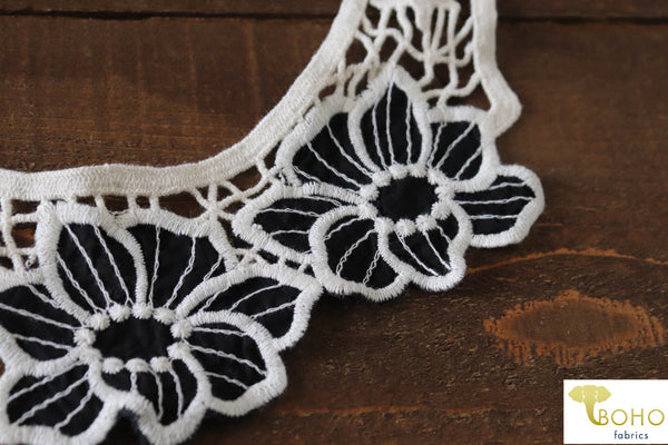 Black & Ivory Floral Applique.  Style #FA-18