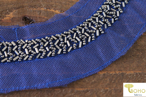 Royal Blue Beaded Applique.  Style #BA-03