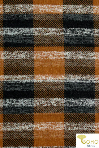 Copper & Black Plaid. Hacci Sweater Knit. PRSW-114