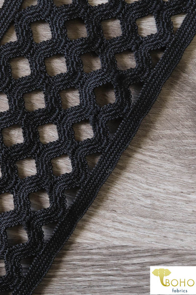 Diamond Weave Elastic in Black, 2.75""