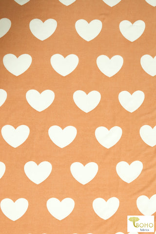 White Hearts on Apricot. Printed Hacci Sweater Knit. PRSW-121-ORJ