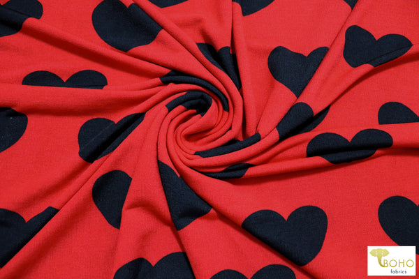 Black Hearts on Red. Printed Hacci Sweater Knit. PRSW-121-RED
