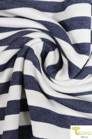 "Navy & White 5/8"" Stripes, French Terry Knit. FTP-309"