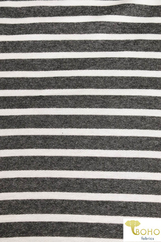 "Charcoal Gray 3/4"" Stripes, French Terry Knit. FTP-307"