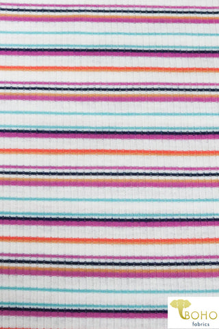 Keira Stripes.  Purple, Teal, Navy & Coral Stripes on White Rib Knit. RIB-120