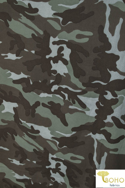 Evergreen Camo.  Double Brushed Poly Knit Fabric DBP-047