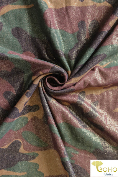 Glamo Camo!  Glitter Double Brushed Poly Knit Fabric DBP-048