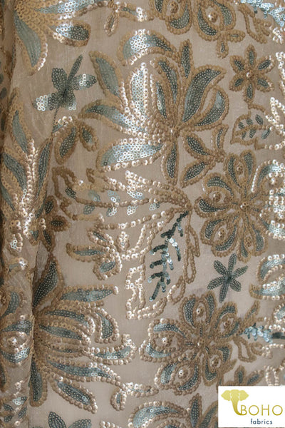 "Special Occasion: ""Blue Fete"" Sequined and Beaded Fabric Woven Fabric"