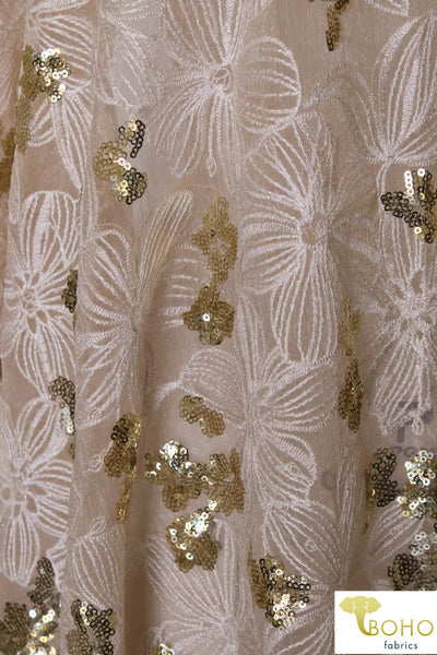 "Special Occasion: ""Summer Wedding"" Embroidered and Sequined Textured Chiffon Woven Fabric"