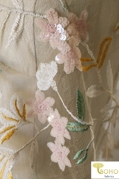 "Special Occasion: ""Spring Florals"" Embroidered and Sequin Mesh"