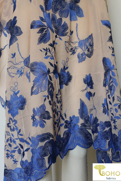 Special Occasion: Woven Blue Double Border Floral Scalloped Edge Embroidery on Nude
