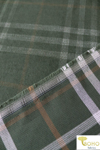 Green Plaid in Corduroy. Cotton Woven. WVP-201
