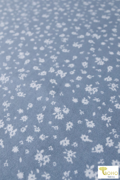Space Garden on Steel Gray Blue. Cotton Ribbing Print. CLP-107-GRY