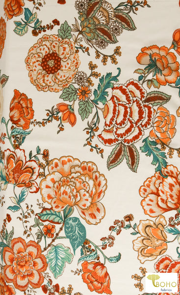 Folklore Flowers on Ivory. Ponte Di Roma Double Knit Fabric. PP-102-IVRY.