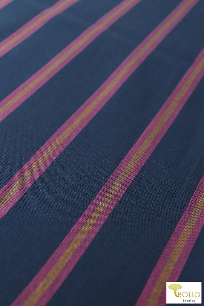 Magenta Stripes on Navy Blue. Cotton Woven Fabric. WVP-204