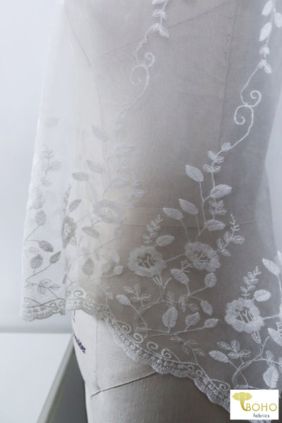 Whistledown Florals on White. Double Scallop Embroidered Mesh, Special Occasion Fabric. SO-107