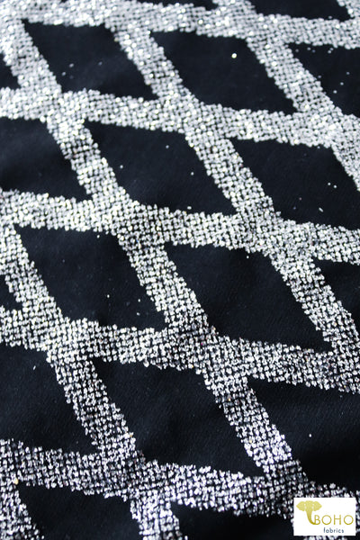 Silver Diamonds on Black. Glitter Novelty Knit