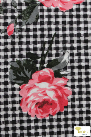 Pink Rosettes on Black Plaid, Double Brushed Poly Knit Fabric. BPP-305