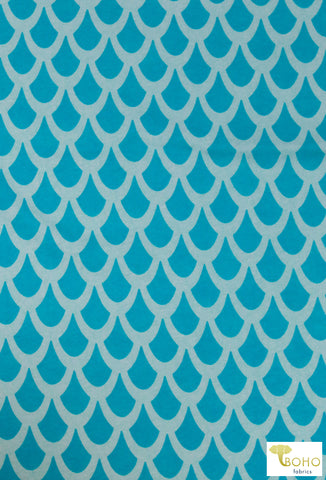 Raindrops on Aqua, Cotton Spandex Knit. CLP-109