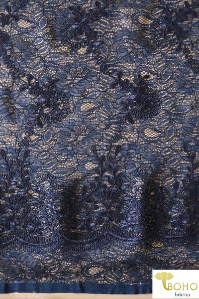 Navy Sequined and Embroidered Florals.  Special Occasion Woven Fabric: Embroidred and Sequined Lace with Lining