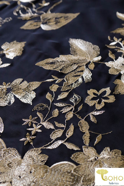 Special Occasion: Woven Gold Double Border Floral Scalloped Edge Embroidery on Black