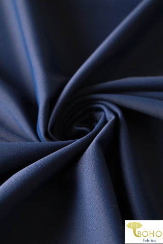 Swim/Activewear Solid in Navy Blue. Matte Nylon/Spandex Blend