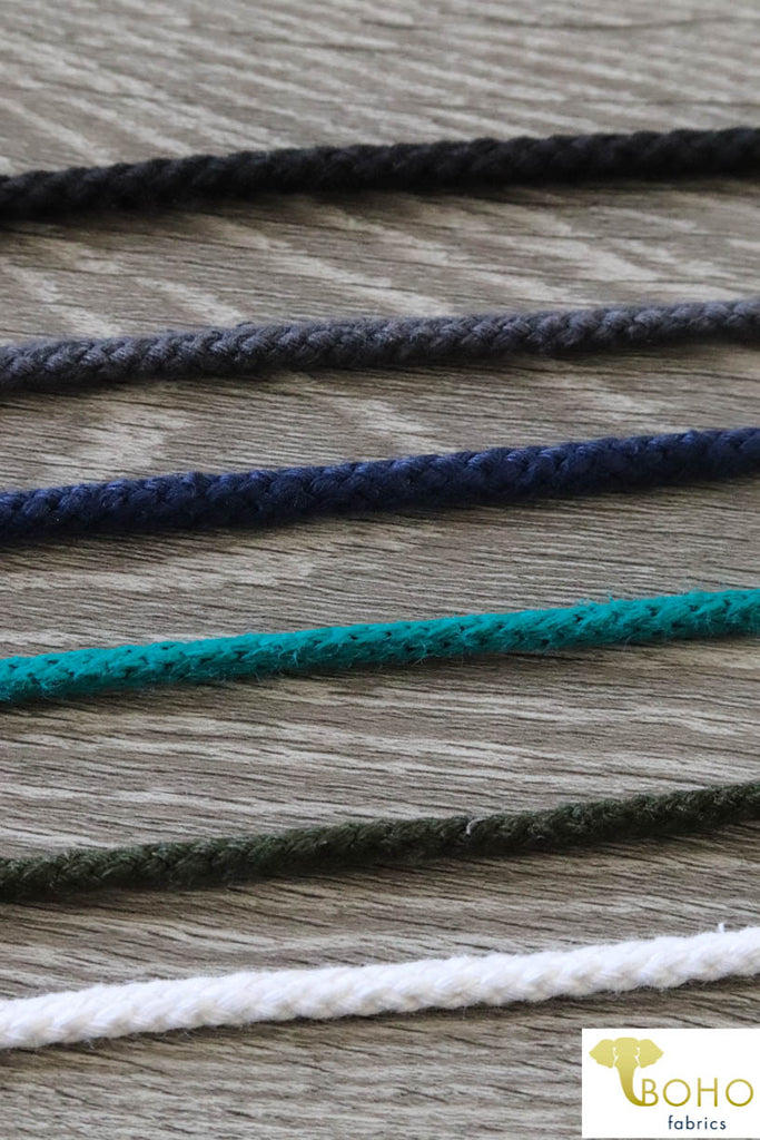 "1/4"" Drawstring Cord (Round).  100% Cotton"